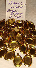 BRASS  SETTINGS  8 x 6 mm  with LOOP    50 PC + FINDINGS     $4.99
