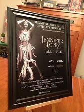 """2 BIG 10x13 FRAMED JENNIFER LOPEZ """"ALL I HAVE"""" LP CD LIVE IN LAS VEGAS PROMO ADS"""