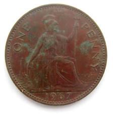 LARGE OLD 1967 COPPER ONE PENNY 1p Bank England BRITANNIA Queen ELIZABETH II