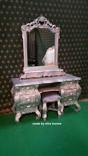 SILVER Mahogany Rococo Dressing table oriental french styl bevelled edge mirror