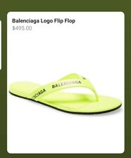 BALENCIAGA Logo-print neon-leather flip flops, yellow , Sz37, Ori$495!!!