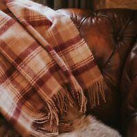 The Weaving Shed UK Wool Blanket Walnut/Burgundy Plaid Throw