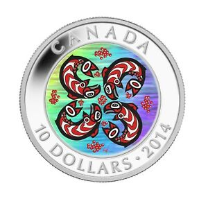 First Nations Art Salmon - 2014 Canada 1/2 oz Pure Silver Coin - RCM