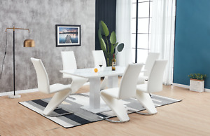 White High Gloss Dining Table Set And 6 Chrome Leather Dining Chairs