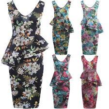 New Womens Double Frill Floral Peplum Bodycon Midi Dress 8-22
