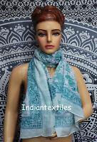 Women Indian Hand Block Print Long Sarong Dupata Stole Scarf Gift Fabric Cotton