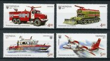Ukraine 2017 MNH Fire Engines Transport 4v Set Aviation Ships Boats Stamps