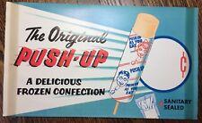 c. 1950 PUSH-UP Popsicle ICE CREAM Paper Sign Vintage Original Advertising