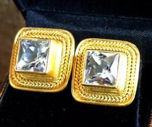 Gorgeous 22k Gold Designer Maija Neimanis Aquamarine Clip Earrings 18gm