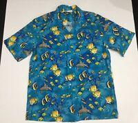 Island Aloha Wear Mens Hawaiian Shirt Sz Large Underwater Ocean Fish Sea Turtles