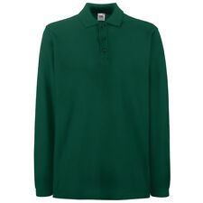Fruit of The Loom Ss258 Mens Premium Long Sleeves Polo Tshirt Casual T-shirt Top Forest Green XL