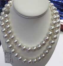 "South Sea Pearls  34"" 12 X 13mm  White Rose Color. Very Fine strand Diamond"