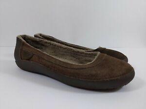 Crocs Berryessa Brown Suede Flat Slip-On Shoes Womens Size 7 Fleece Lining