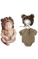 Newborn Baby Knit Costume Photography Photo Props Romper Hat Animal Theme Outfit