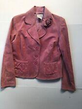 Live a Little Womens Suede Leather Three Button Jacket Blazer Sz L Pink