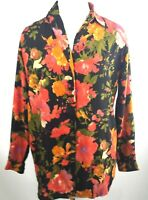 Moda Int'L Women's Multicolor Floral Top/Blouse Long Sleeve Button Front Size M.