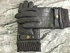 Herren Luxe Napa Leder Handschuhe Wärme gefüttert braun Touchscreen Finger Größe S-M