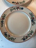 4- Buffalo China Restaurant Ware Ye Old Ivory Floral Luncheon Plates Mandalay