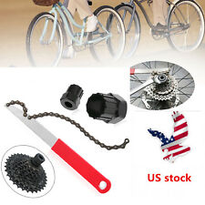 US MTB Bike Cassette Freewheel Chain Whip Kit Bicycle Sprocket Lock Remover Tool