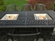 Fire pit dining table Cast Aluminum Propane Double Burner 9 Piece Outdoor Set
