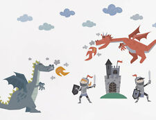 34pc Bright Star Kids Wall Stickers - Dragons & Knights - Boy Decals for Bedroom