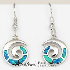 Spiral Shape Ocean Blue Fire Opal Inlay Silver Jewellery Dangle Drop Earrings