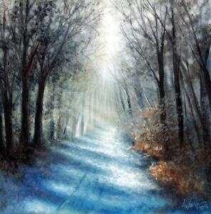 Original Oil Painting Winter Forest Landscape Art by Christina Schulte