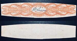 #RS235d - 8 Cents, Bright Orange, die cut, Watermarked Paper Match & Medicine.