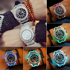 Womens Festival Watch Light Up LED Flashing Glow Sparkle Crystal Bling XMAS Gift