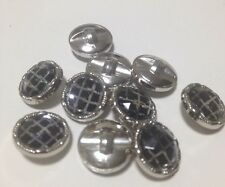 10 x 12mm Criss Cross Silver Toned Plastic Shank Buttons- Australian Supplier