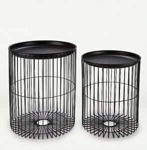 Set Of 2 Black Metal Wired Side End Tables Storage Removal Tray