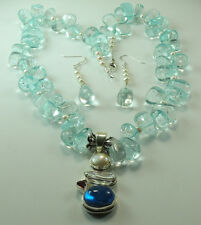 Statement Blue Quartz & Pearl Necklace & Earrings with Blue Topaz Sterling