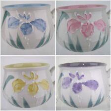 Takahashi Hand Painted Mugs Set Of 4 Blue Yellow Pink Purple 3D Iris Porcelain
