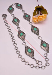 Women Inspired South American Flower Carved Antique Silver&Turquoise Concho Belt