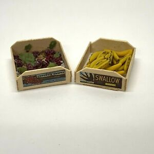 Dollhouse Miniatures Wooden Crates of Fruit Emperor Grapes Swallow Bananas 1:12