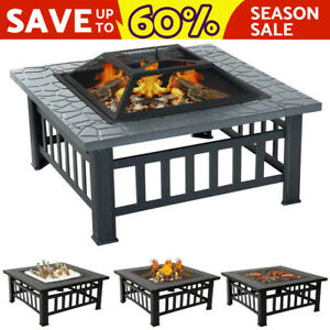Fire Pit BBQ Firepit Brazier Garden Table Stove Patio Heater Grill Poker Cooking