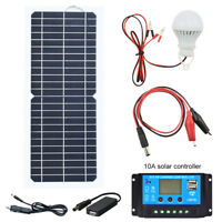 12v 10w Portable Solar Panel Kit Power Battery Charger Backup for RV Car Camping