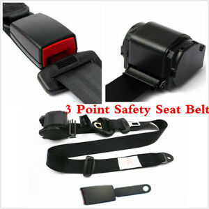 Black Automatic Retractable 3 Point Safety Seat Belt Lap Seatbelt For Car Truck
