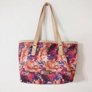 Floral Purse Handbag Nicole Miller Shoulder Bag Tote Purple Peach Summery