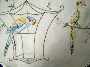 Australian Budgies & Pink Blossoms  Vintage Hand Embroidered Centrepiece