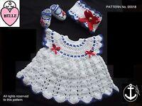 Baby dress sailor style crochet pattern, DK, NB, 0-3, 3-6, 6-12 months. girl.