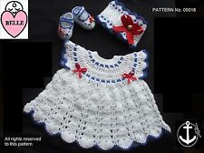 Baby dress sailor style crochet pattern, DK, NB, 0-3, 3-6, 6-12 months.