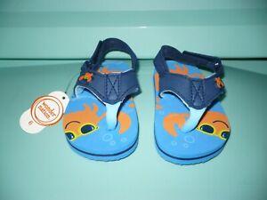 Wonder Nation Boys Crab Flip Flops W Back Strap Blue & Orange Size 3 NEW