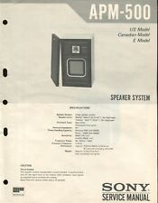 Sony APM-500 Original Stereo Speaker Service Manual