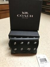 Coach New York Black/Chalk Small Snap Leather Credit Card Case 32748 Wallet