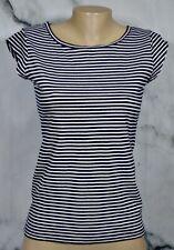 J. CREW Navy Blue White Striped Ballet Cap Sleeve T Shirt Top XS Cotton Linen