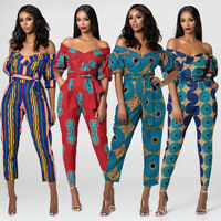 Womens Jumpsuit Off Shoulder Rompers Clubwear Playsuit Floral Siamese Yrousers