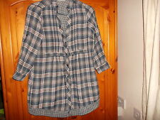 Blue, white and red check hip length shirt, tab sleeves, WALLIS, size 8-10