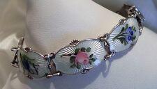 Ivar T Holth (Holt) Norway 925 sterling silver guilloche enamel floral bracelet