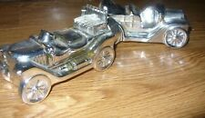 Avon Car-Shaped Cologne Bottle Vintage Silver Glass (Lot of 2) Label May 1978